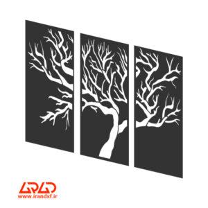 فایل برش لیزر تابلوی سه تکه درخت