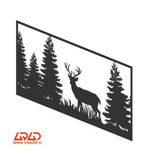 فایل برش لیزر تابلوی جنگل و گوزن